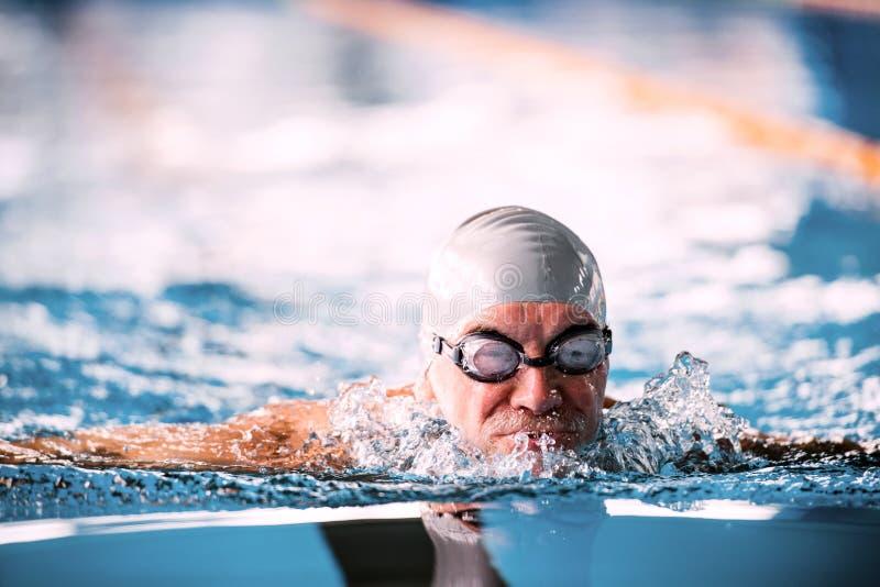 Natación del hombre mayor en una piscina interior fotografía de archivo