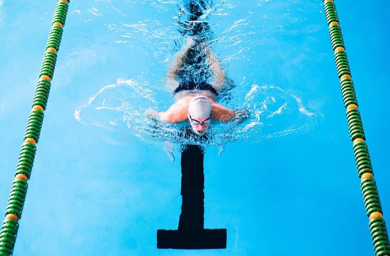 Natación del hombre mayor en una piscina interior imágenes de archivo libres de regalías