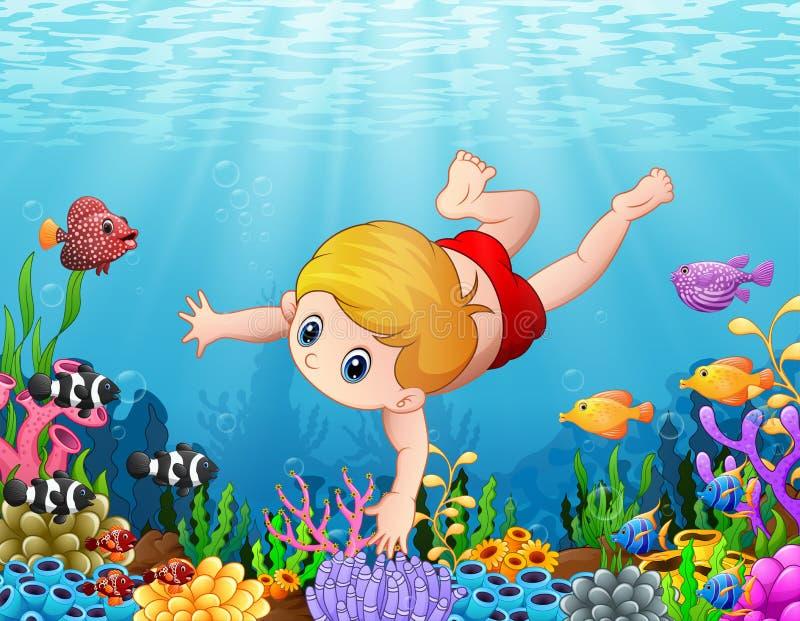 Natación del niño pequeño debajo del mar ilustración del vector
