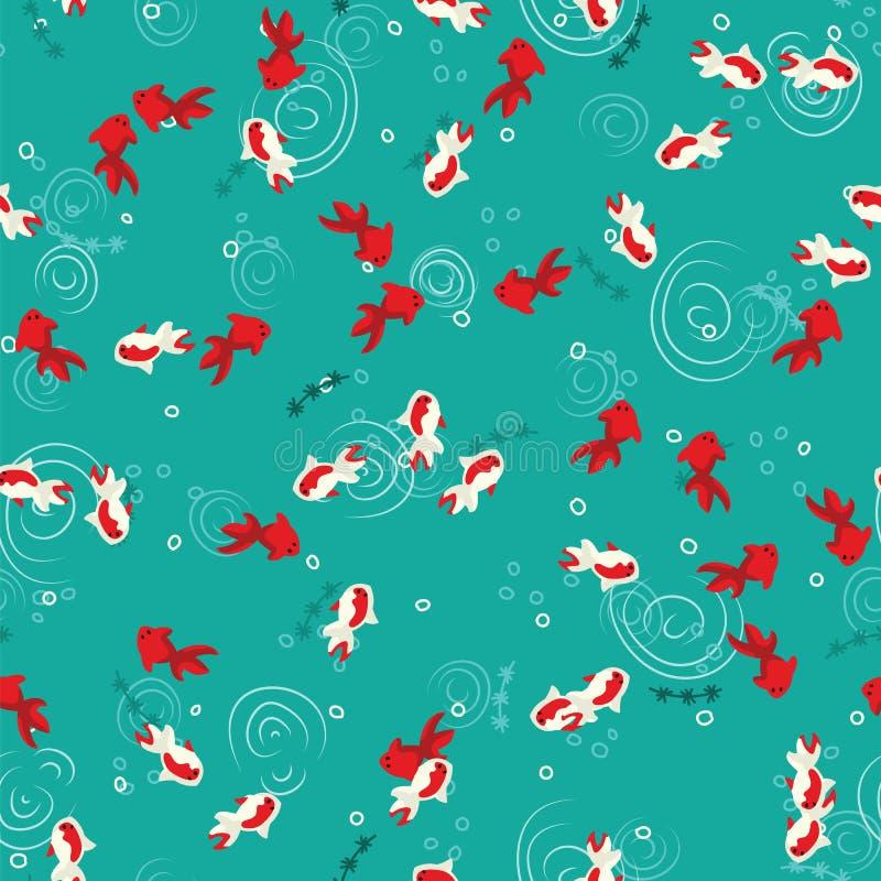 Natación del pez de colores en la opinión superior del agua verde de la charca Natación blanca y roja de la carpa del koi en mode stock de ilustración