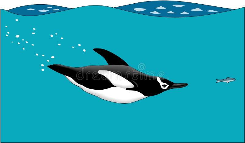 Natación del pingüino después del ejemplo de los pescados ilustración del vector