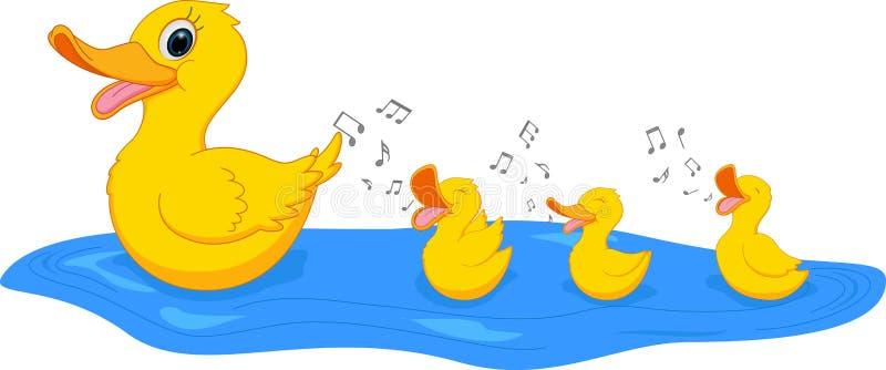 Natación feliz del pato de la madre con el pato libre illustration