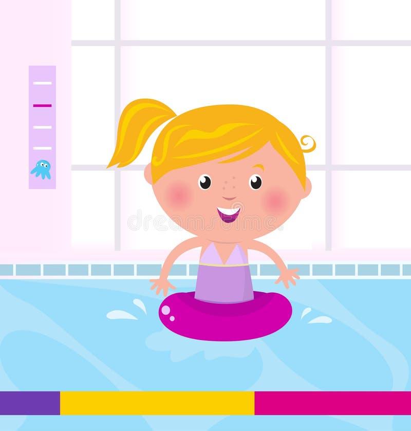 Natación feliz linda de la muchacha en agua/piscina stock de ilustración