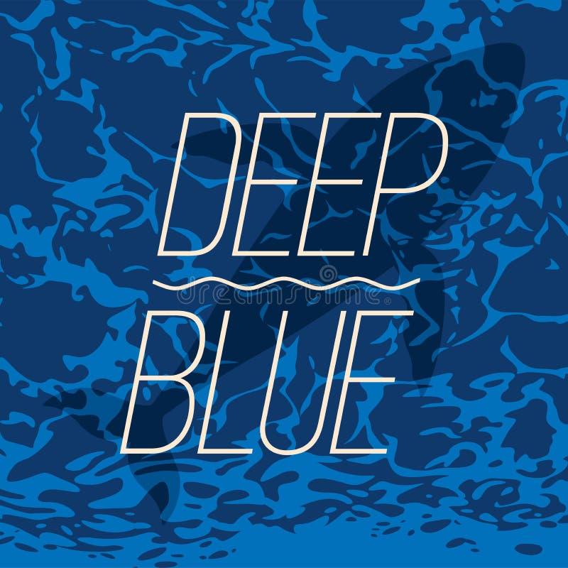 Natación grande de la ballena en cartel azul profundo del océano libre illustration