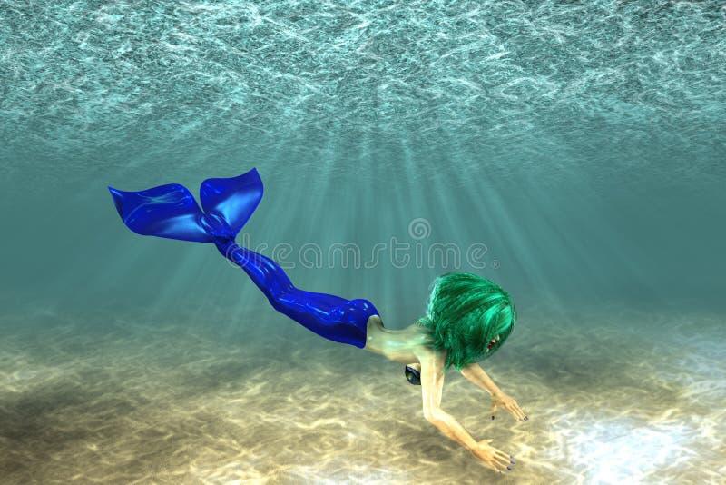 Natación hermosa de la sirena ilustración del vector
