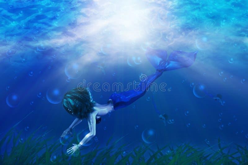 Natación hermosa de la sirena stock de ilustración