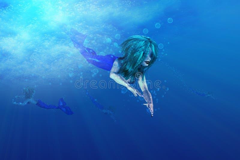 Natación hermosa de la sirena libre illustration