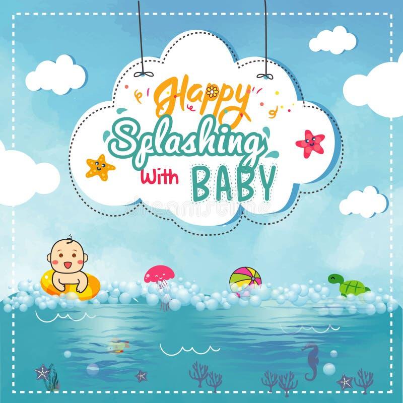 Natación linda del bebé o del niño pequeño en el ejemplo del vector del mar libre illustration