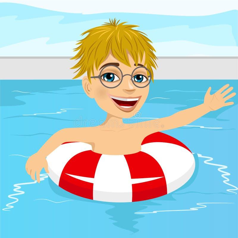 Natación linda del niño pequeño en piscina con el anillo inflable stock de ilustración