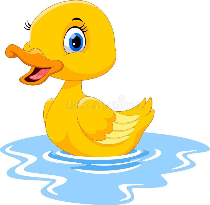 Natación linda del pato de la historieta Divertido y adorable stock de ilustración