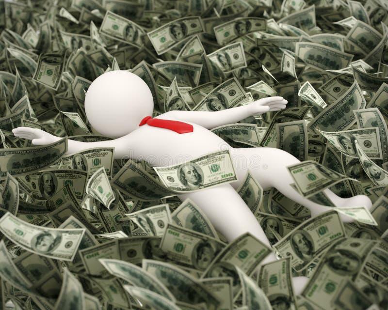 natación rica del hombre de negocios 3d en el océano del dinero libre illustration