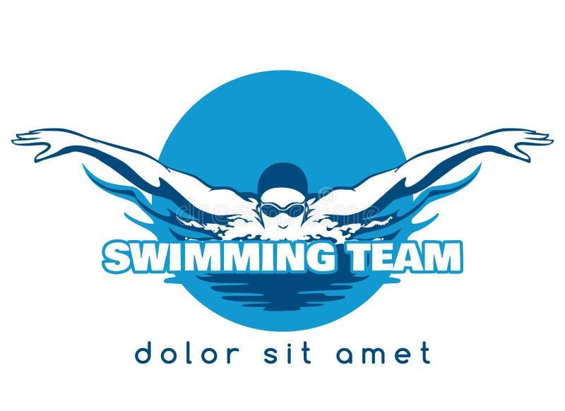 Natación Team Vector Logo stock de ilustración
