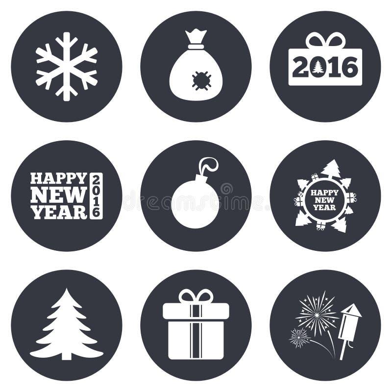 Natal, ícones do ano novo Caixa de presente, fogos-de-artifício ilustração do vetor