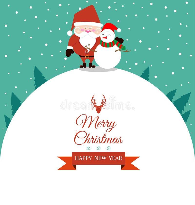 Natal abstrato com Santa Claus e o boneco de neve ilustração stock