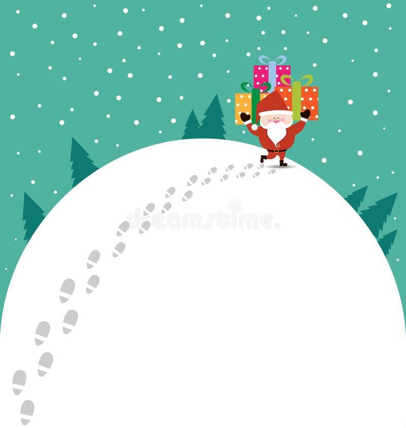 Natal abstrato com Santa Claus e o presente ilustração royalty free