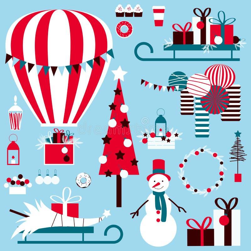 Natal ajustado com o balão, os presentes e o boneco de neve de ar quente ilustração do vetor