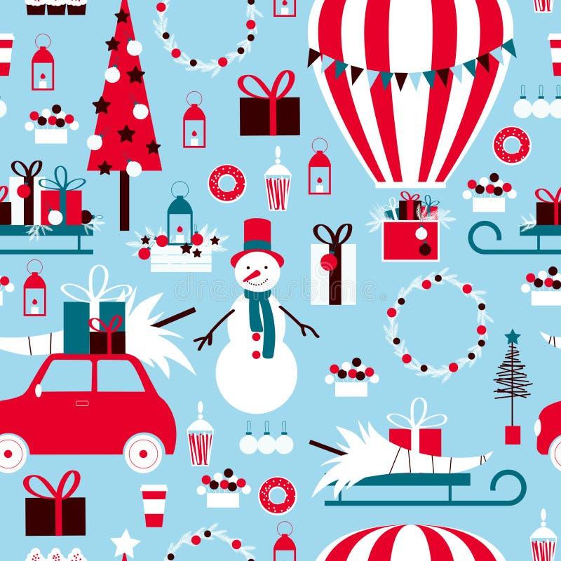 Natal ajustado com o balão, os presentes e o boneco de neve de ar quente Vector o teste padrão sem emenda ilustração do vetor