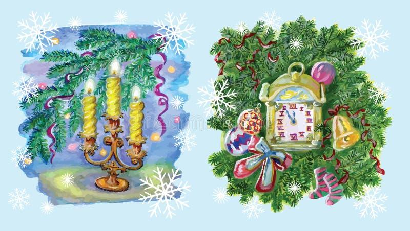 Natal ajustado com velas e o pulso de disparo velho ilustração stock