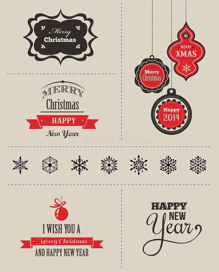 Natal ajustado - etiquetas, emblemas e elementos ilustração royalty free