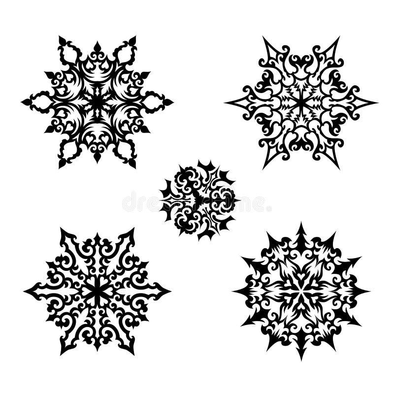 Natal ajustado: flocos de neve decorativos do vetor ilustração do vetor