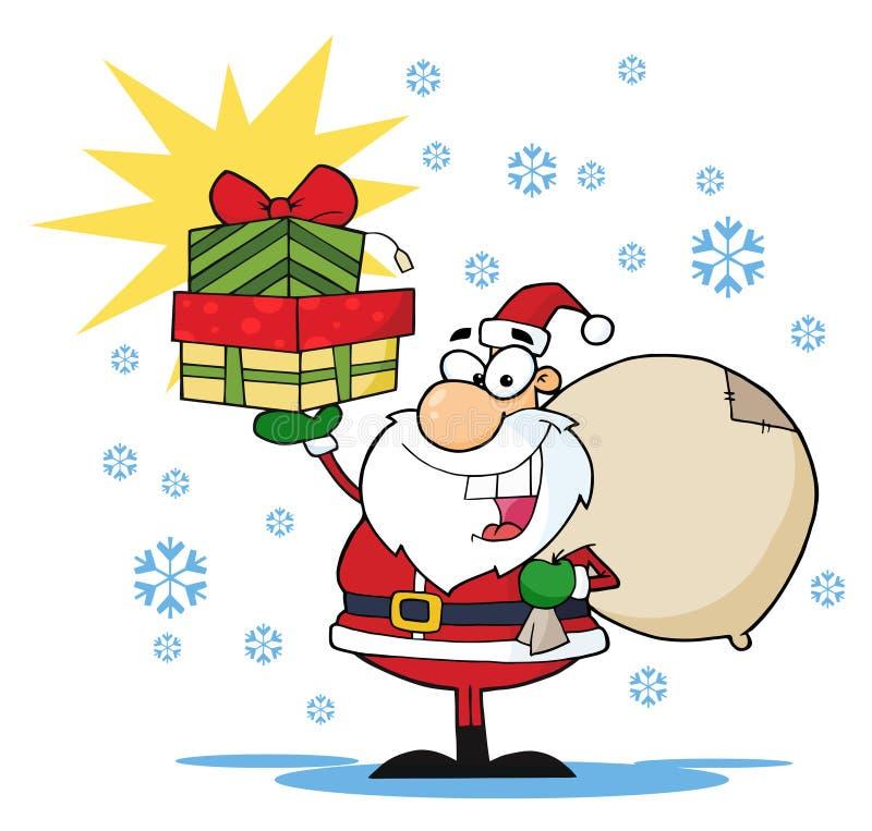 Natal alegre Santa que sustenta uma pilha de presentes ilustração stock