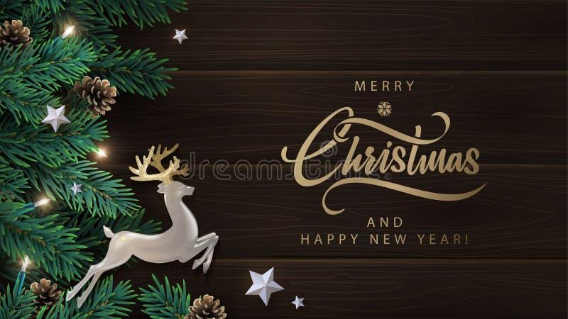 Natal, Ano Novo com cervo de pérolas com chifres dourados, estrelas de prata, ramos de pinheiro com cones num fundo de madeira es ilustração stock