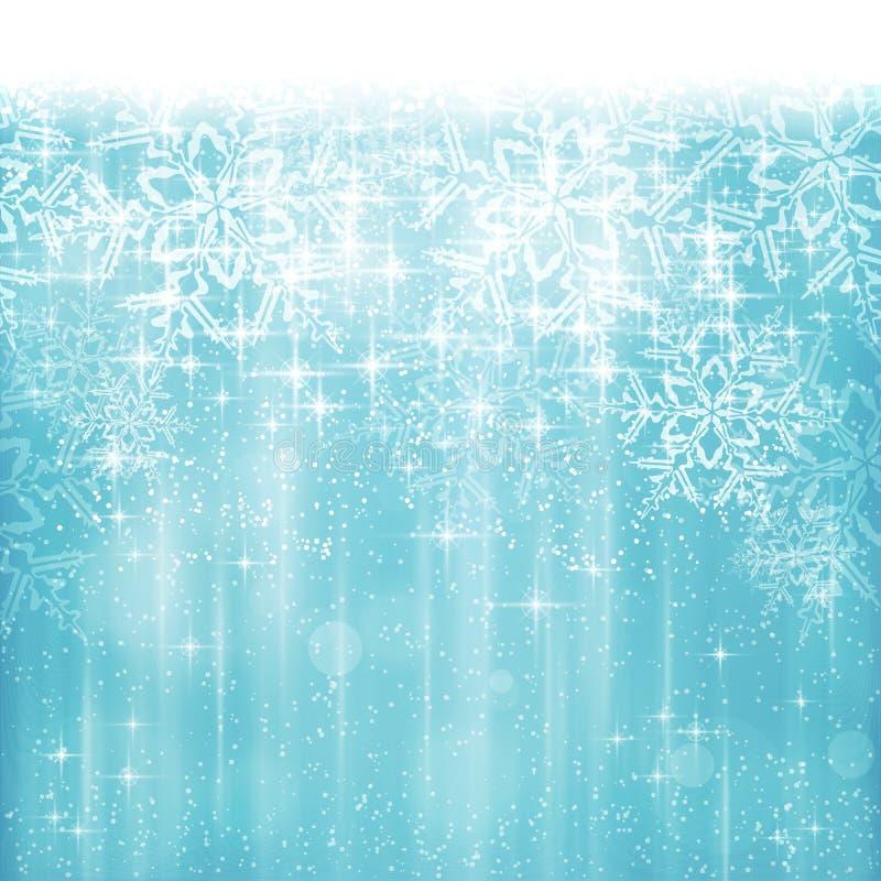 Natal azul branco abstrato, fundo do floco de neve do inverno ilustração royalty free