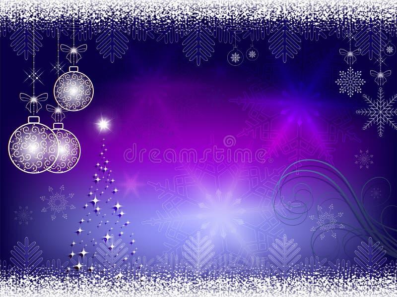 Natal azul, fundo roxo ilustração do vetor