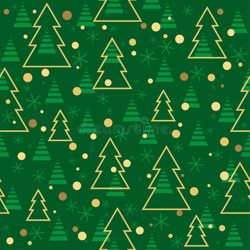 Natal básico de RGBSeamless e teste padrão do ano novo com as árvores de Natal no fundo verde ilustração do vetor