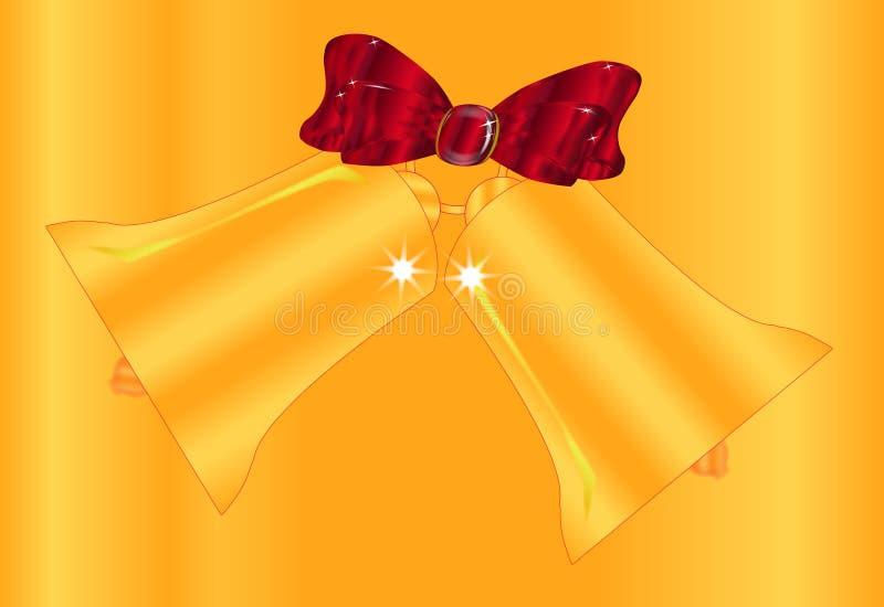 Natal Bell dourado e fundo da fita ilustração do vetor