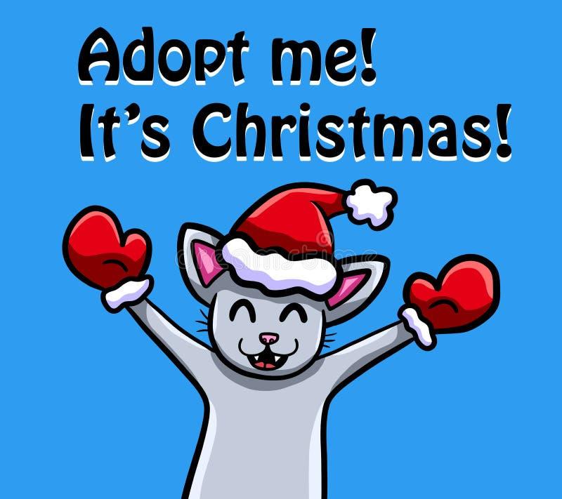 Natal bonito Cat Wants a ser adotada ilustração royalty free