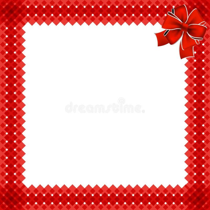 Natal bonito ou beira do ano novo com teste padrão de vime vermelho ilustração royalty free