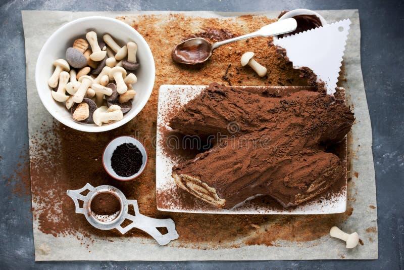 Natal Bush de Noel - cookin caseiro da cavaca do yule do chocolate imagens de stock royalty free