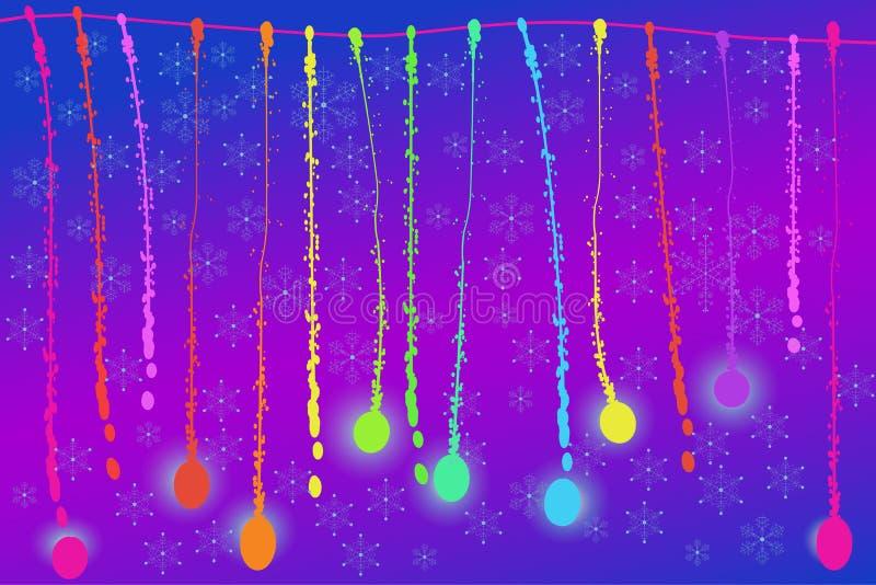 Natal, cartaz do feriado do ano novo, fundo da bandeira com as bolas abstratas dos flocos de neve ilustração stock