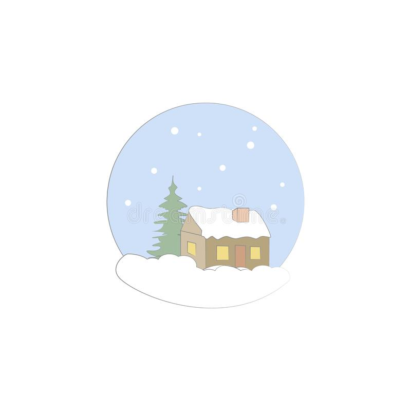 Natal, casa, ícone do inverno Elemento do Natal para apps móveis do conceito e da Web Natal colorido, casa, ilustração do inverno ilustração do vetor