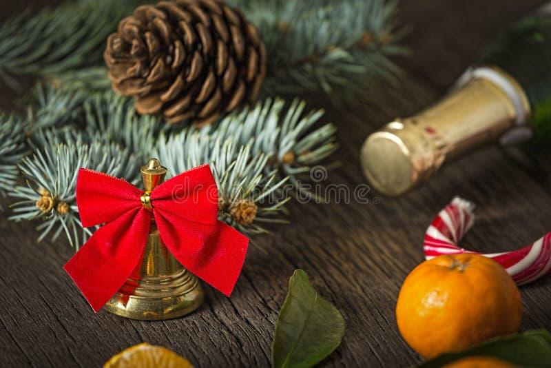 Natal, chocolate, tangerinas, ano novo, Champagne, celebração, feriado fotos de stock