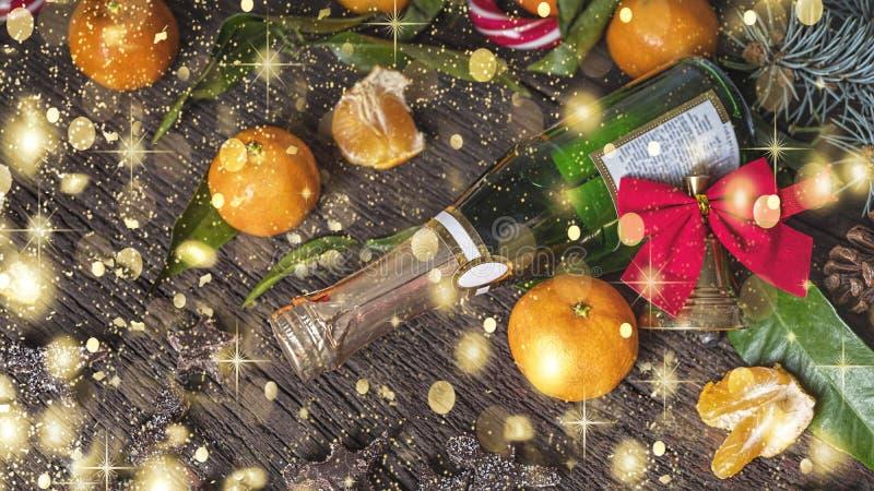 Natal, chocolate, tangerinas, ano novo, Champagne, celebração, feriado imagem de stock