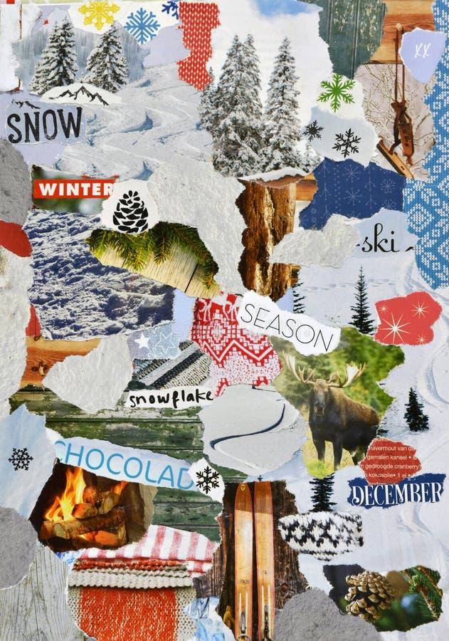 Natal, colagem da placa do humor da atmosfera do inverno fotografia de stock