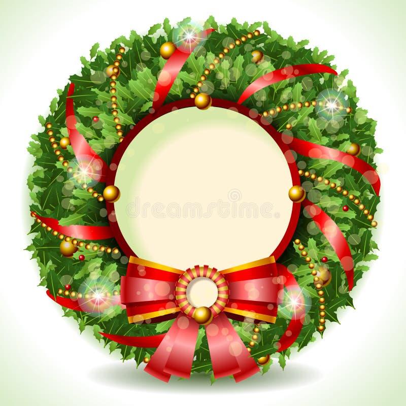 Natal da grinalda com fita vermelha ilustração do vetor