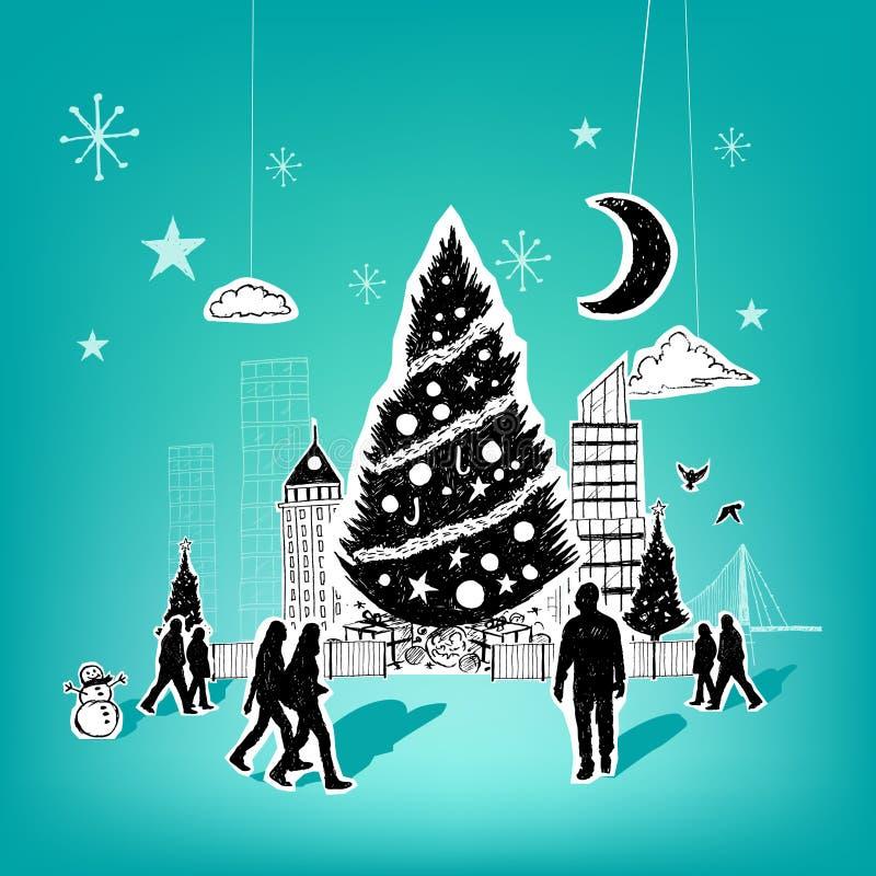 Natal de papel da cidade ilustração do vetor
