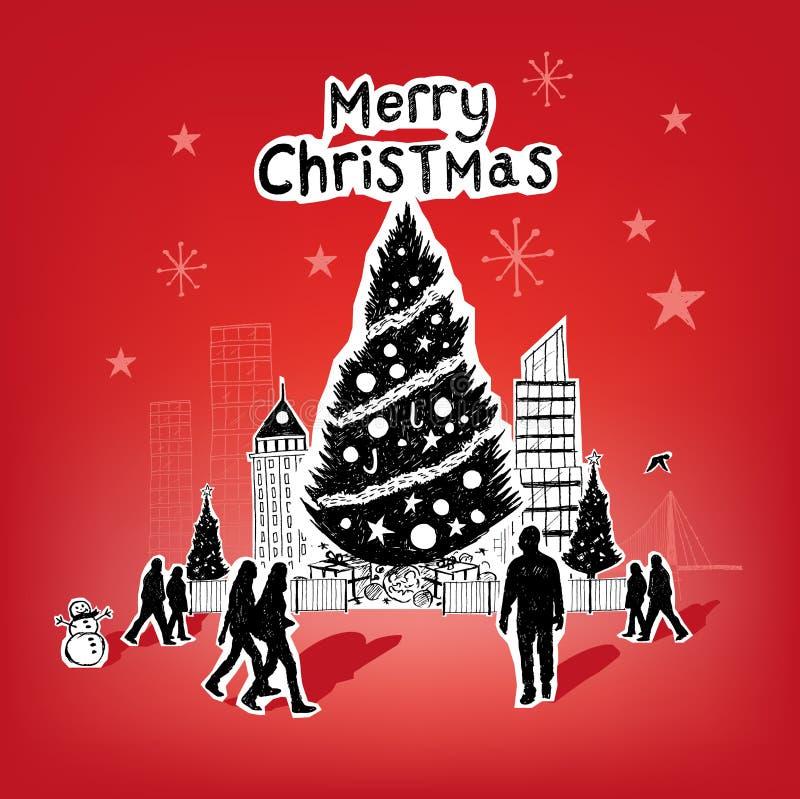 Natal de papel da cidade ilustração stock