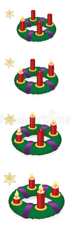 Natal de queimadura das velas de Advent Wreath One Two Three quatro ilustração do vetor