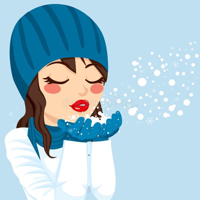 Natal de sopro da neve da mulher mágico ilustração do vetor