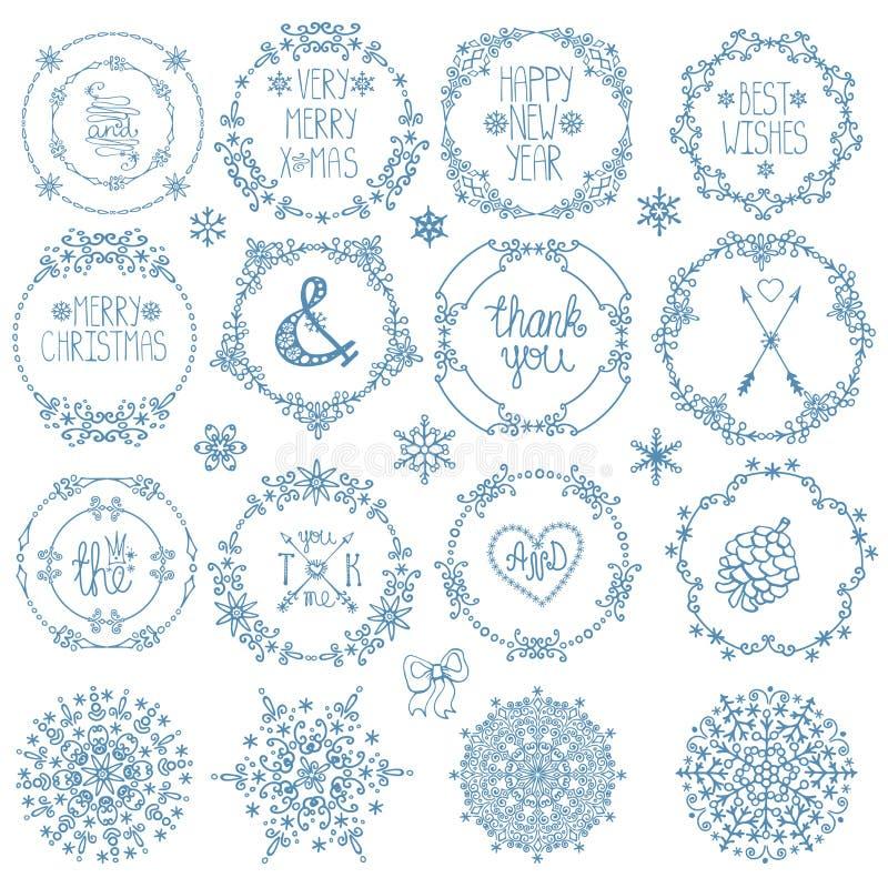 Natal, decoração do ano novo Quadros do círculo do inverno ajustados ilustração do vetor