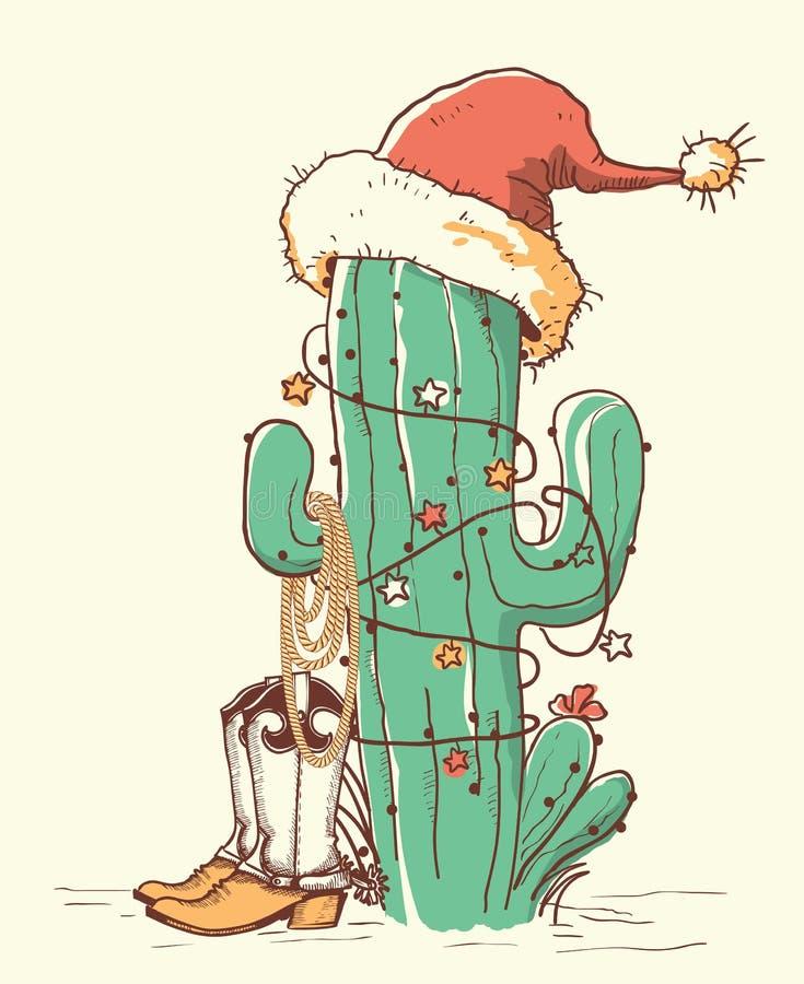 Natal do cacto em sapatas vermelhas do chapéu e do vaqueiro de Santa Cor do vetor ilustração stock