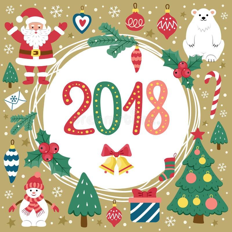 Natal do cartão e ano novo ilustração royalty free