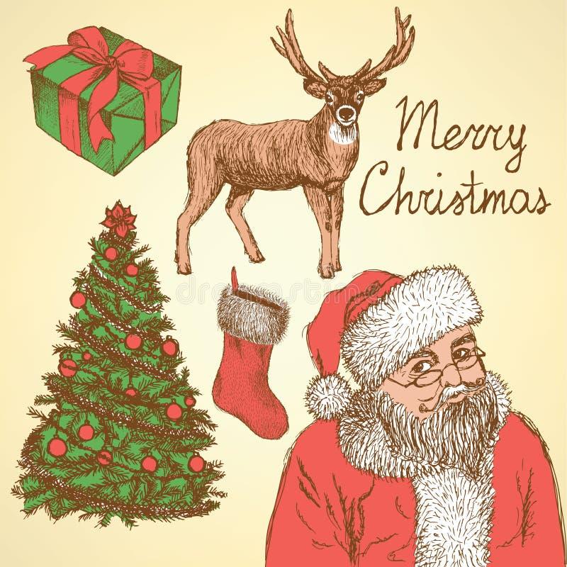 Natal do esboço ajustado no estilo do vintage ilustração do vetor