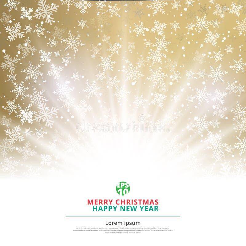 Natal do fundo do ouro do inverno feito dos flocos de neve ilustração stock