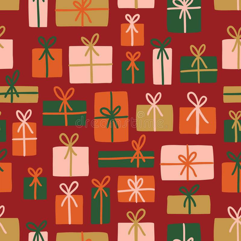 Natal do vetor ou teste padrão sem emenda do aniversário imagem de stock