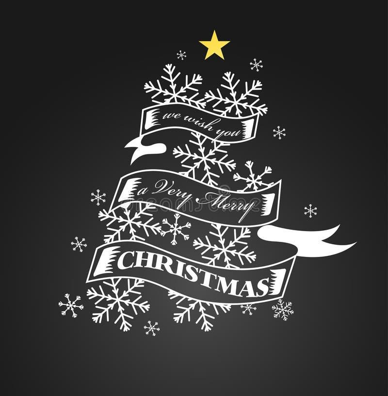 Natal do vintage e fundo do ano novo no quadro-negro ilustração do vetor